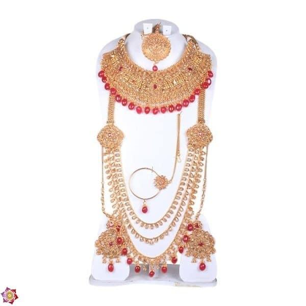 Golden and Maroon Bronze Jewellery Set