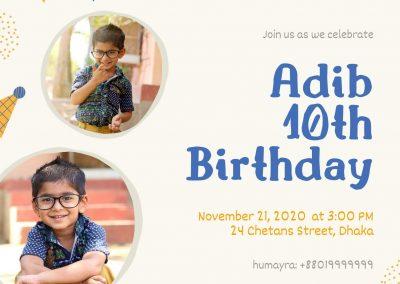 Blue and Yellow Illustrated Decors Birthday Invitation