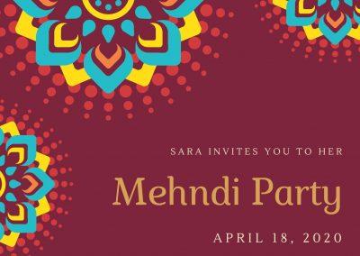 Maroon Gold Indian Elegant Fancy Mehndi Invitation