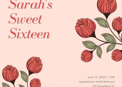 Peach and Red Flowers Sweet 16 Invitation