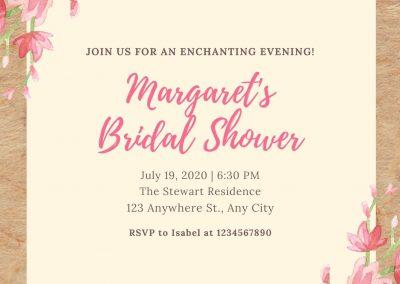 Pink Watercolour Flowers Rustic Bridal Shower Invitation
