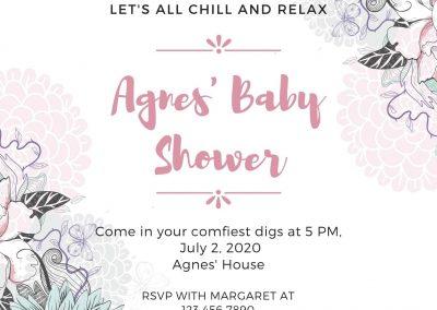 Pink and White Shabby Chic Baby Shower Invitation